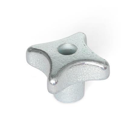 DIN 6335 Perillas manuales de hierro fundido, zincadas, con orificio pasante o ciego roscado Material: GG - Hierro fundido Tipo: D - Con orificio pasante roscado Acabado: ZB - Zincado, acabado pasivado azul