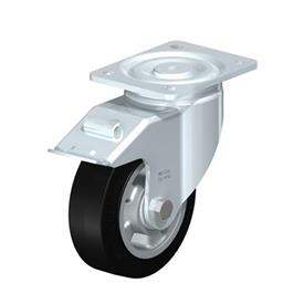 LH-ALEV Steel Heavy Duty Black Rubber Wheel Swivel Casters, with Plate Mounting, Heavy Duty Bracket Series Type: K-FI - Ball Bearing with Stop-Fix Brake