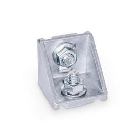 GN 960 Aluminium, équerres, pour systèmes de profilés en aluminium 30/40/45mm Type de pièce d'angle: C - Avec jeu de montage<br />Finition: MT - Finition mate au tonneau