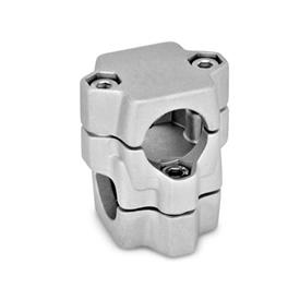 GN 134 Aluminum, Split Assembly, Round and/or Square Bore, Two-Way Connector Clamps Bore d<sub>1</sub>: B 40<br />Finish: BL - Plain, tumbled finish
