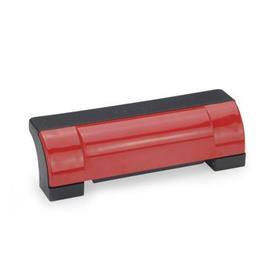 EN 630 Poignées étriers de sécurité fermées de décalage Ergostyle® en technopolymère Couleur du cache: DRT - Rouge, RAL 3000, finition brillante