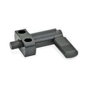 GN 612.2 Posicionadores de indexado por palanca de acero, con bloqueo, con brida de fijación Tipo: B - Con funda de plástico
