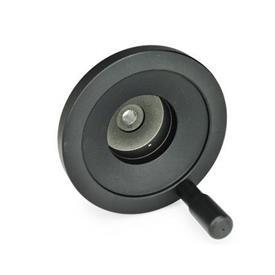 GN 323.9 Aluminum Solid Disk Handwheels, for Position Indicators EN 000.9 / EN 000.13  Type: R - With revolving handle