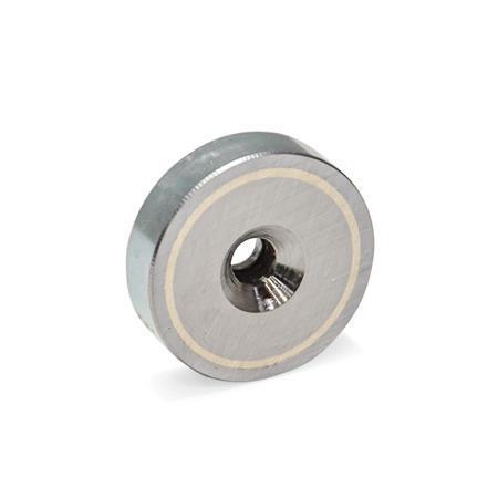GN 58 Imanes de olla, de acero, con agujero avellanado Acabado: ZB - Zincado