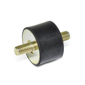 GN 351.1 Rubber Vibration Isolation Mounts, Cylindrical Type, with Steel Components, with 2 Threaded Studs