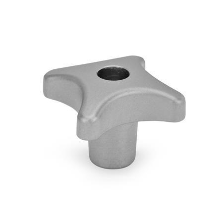 DIN 6335 Perillas manuales de acero inoxidable AISI CF-8, con orificio pasante o ciego roscado Tipo: D - Con orificio pasante roscado