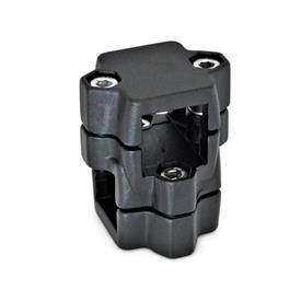 GN 134 Aluminum, Split Assembly, Round and/or Square Bore, Two-Way Connector Clamps Square s<sub>1</sub>: V 40<br />Finish: SW - Black, RAL 9005, textured finish