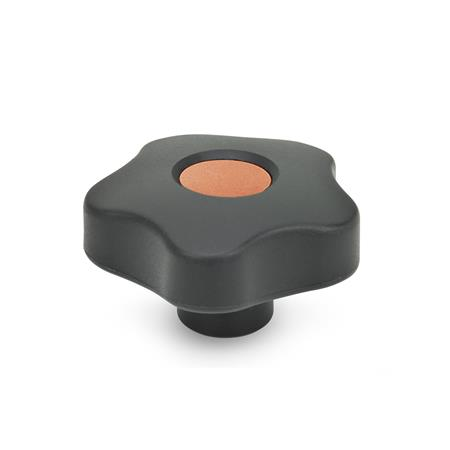 EN 5337.7 Technopolymer Plastic Five-Lobed Knobs, with Stainless Steel Tapped Blind Bore Insert Type: E - With cover cap (tapped blind bore) Color of the cover cap: DOR - Orange, RAL 2004, matte finish