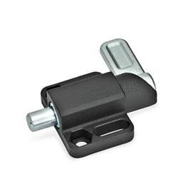 GN 722.3 Pestillos de muelle cuadrados, de acero, con bloqueo, con brida de fijación, en paralelo al pasador de cerrojo Tipo: R - Palanca a la derecha<br />Acabado: SW - Negro, RAL 9005, acabado texturizado