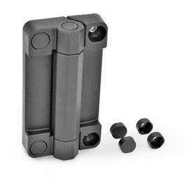 EN 239.7 Charnières plastique avec contacteur de sécurité, compatibles avec charnières EN239.6 à contacteur de sécurité Test<sub>1</sub>: 110