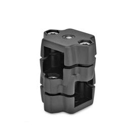 GN 134.7 Aluminum Two-Way Connector Clamps, with Locating Option Type: G - With thread<br />Color: SW - Black, RAL 9005, textured finish