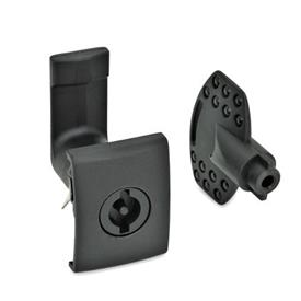 EN 115.5 Technopolymer Plastic Cam Latches, for Snap-Fit Mounting Type: VDE - Operation with double bit <br />Finish: SW - Black, RAL 9005, textured finish<br />Identification no.: 2 - Latch housing with  rectangular stop