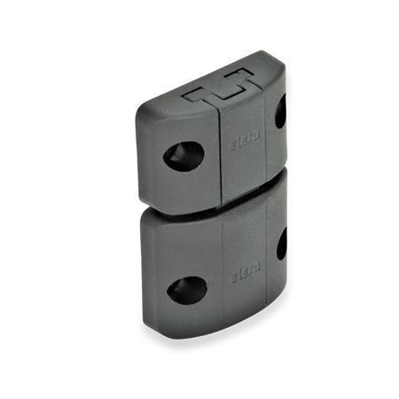 EN 449 Mécanismes de verrouillage de porte à vis d'étrier en Plastique technopolymère Type: A - Fermeture à déclic sans poignée étrier Couleur: SW - Noir, finition mate