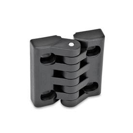 EN 151.4 Technopolymer Plastic Hinges, Adjustable, with Slotted Holes Type: B - Horizontal slots