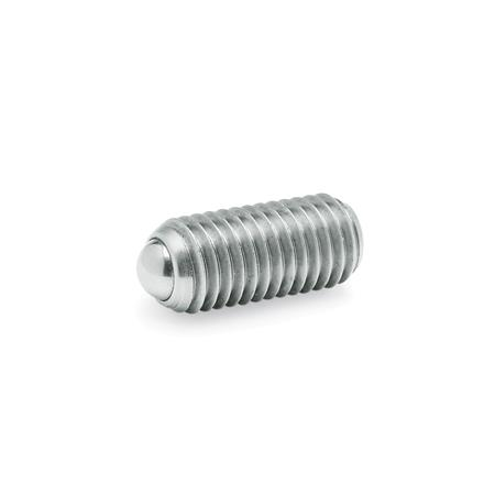 GN 615.3 Steel / Stainless Steel Ball Plungers, with Internal Hexagon Type: KN - Stainless steel, standard spring load