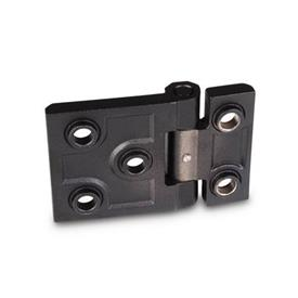 GN 237.3 Stainless Steel Heavy Duty Hinges, with Extended Hinge Wing Material: NI - Stainless steel<br />Type: B - With bores for countersunk screws with centering guides<br />Finish: SW - Black, RAL 9005, textured finish<br />Scharnierflügel: l3 ≠ l4