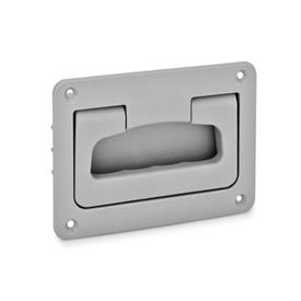 EN 825.2 Technopolymer Plastic Folding Handles with Recessed Tray, with Spring-Loaded Return Color: GR - Gray, RAL 7035, matte finish