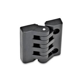 EN 151 Bisagras de plástico tecnopolimero  Tipo: H - 2 orificios ciegos roscados / 2 orificios para tornillos de cabeza hueca