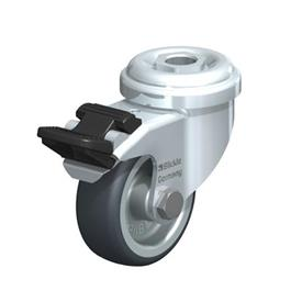 LRA-TPA Steel Light Duty Swivel Casters with Thermoplastic Rubber Wheels, and Bolt Hole Fitting  Type: G-FI - Plain Bearing with Stop-Fix Brake