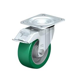 L-ALST Steel Pressed Aluminum Swivel Casters, with Medium Duty Brackets Type: K-FI - Ball Bearing with Stop-Fix Brake