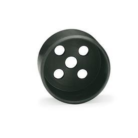 GN 187.1 Alojamientos guía de acero, para placas de bloqueo dentadas GN 187.4 Material: ST - Acero