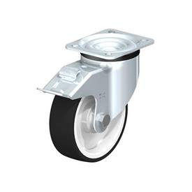 LK-POTH Steel Medium Duty Swivel Caster with Polyurethane Treaded Wheel, with Plate Mounting, Medium-Heavy Duty Bracket Series Type: K-FI - Ball Bearing with Stop-Fix Brake