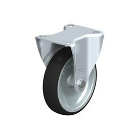 B-PATH Steel Medium Duty Polyurethane Treaded Fixed Casters, with Plate Mounting Type: G - Plain Bearing