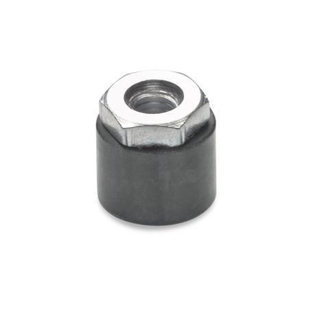 GN 806 Tapones protectores de caucho, para tornillos de cabeza hexagonal o con inserto roscado hexagonal Tipo: B - Con inserto roscado hexagonal