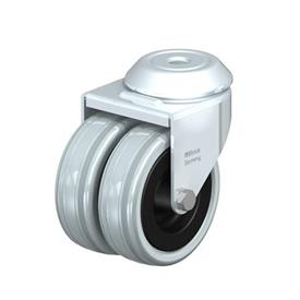 LMDA-VPA Steel, Medium Duty Gray Rubber Twin Swivel Casters, with Bolt Hole Mounting  Type: G - Plain Bearing