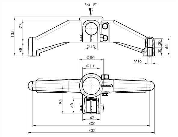 AN 120 Bipod Support Bases With Round Connection Joint  sketch