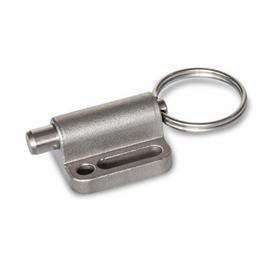 GN 417 Mécanismes de verrouillage de doigt d'indexage en inox, de type non verrouillable, avec anneau de traction/ boucle de câble Type: A - Avec anneau de traction<br />Matériau: NI - Moulage de précision inox