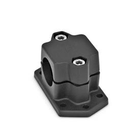 GN 147.3 Aluminum Flanged Connector Clamps, Split Assembly, with 6 Mounting Holes Finish: SW - Negro, RAL 9005, acabado texturizado