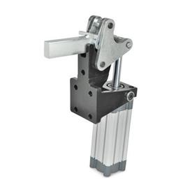 GN 863 Steel Heavy Duty Pneumatic Toggle Clamps, with Vertical Mounting Base, with Magnetic Piston