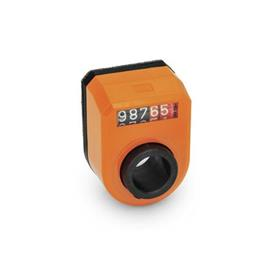 EN 953 Technopolymer Plastic Digital Position Indicators, 5 Digit Display Installation (Front view): FN - In the front, above<br />Color: OR - Orange, RAL 2004