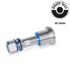 GN 8170 Posicionadores de indexado de acero inoxidable, diseño higiénico, con bloqueo y sin bloqueo, con contratuerca de sellado Tipo: C - Con bloqueo <br />Identificación: VH - Con contratuerca de sellado, lado de la perilla y el pasador en diseño higiénico