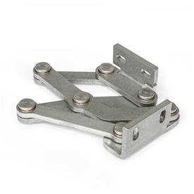 GN 7233 Stainless Steel Multiple-Joint Hinges, Concealed, with Opening Angle of 120° Type: L - Left-hand assembly angle bracket