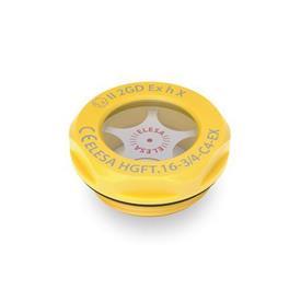 EN 543.6 Mirillas de líquido, de plástico, protección contra explosiones ATEX Tipo: A - Con reflector