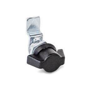 GN 115.1 Loquets à came miniatures / verrous à came miniatures en zinc moulé sous pression, collier de boîtier fini poudré noir Type: SK - Avec bouton à ailettes<br />Finition (collier de boîtier): SW - Noir, RAL 9005, finition texturée