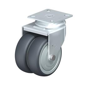 LDA-TPA Steel Light Duty Twin Wheel Swivel Casters, with Plate Mounting, Standard Bracket Series Type: K-FK - Ball Bearing with Thread Guard