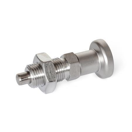 GN 818 Doigts d'indexage, inox AISI316, sans dispositif de blocage Type: BKN - Avec bouton en inox + contre-écrou