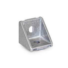 GN 961 Aluminium, équerres, pour systèmes de profilés en aluminium 30/40mm Type de pièce d'angle: A - Sans jeu de montage, sans cache<br />Finition: MT - Finition mate au tonneau