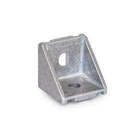 GN 961 Escuadras de aluminio, para sistemas de perfiles de aluminio de 30/40 mm Tipo de pieza angular: A - sin juego de montaje, sin cubierta<br />Acabado: MT - Acabado pulido mate