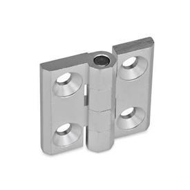 GN 237 Bisagras de zinc fundido a presión o aluminio, con orificios avellanados o espárragos roscados Material: AL - Aluminio<br />Tipo: A - 2x2 orificios para tornillos avellanados<br />Acabado: EL - Anodizado, color natural
