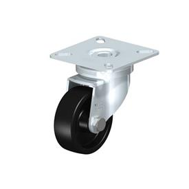LPA-POA Steel Black Nylon Wheel Swivel Casters, with Plate Mounting, Standard Bracket Series Type: G - Plain Bearing