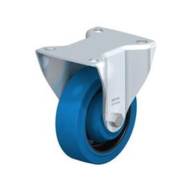 B-POEV Steel Medium Duty Pressed Steel Fixed Casters, with Plate Mounting Type: K-SB-FK - Ball Bearing with Blue Wheel, with Thread Guard