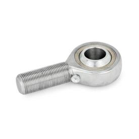 GN 648.6 Acero inoxidable Cabezas de rótula, con perno roscado Tipo: NH - Bronce / acero, se puede lubricar