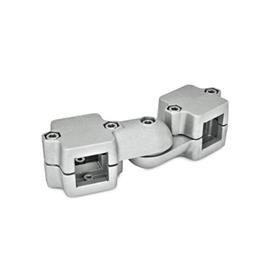 GN 289 Aluminum, Split Assembly, Swivel Clamp Connector Joints  Square s<sub>1</sub>: V 45<br />Type: S - stepless adjustment<br />Identification no.: 2 - with 5 Stainless Steel-clamping screws DIN 912<br />Finish: BL - Plain, tumbled finish
