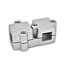 GN 194 Aluminum, Multi-Part Assembly, T-Angle Connector Clamps Square s<sub>1</sub>: V 40<br />Finish: BL - Plain, tumbled finish<br />Identification No.: 2 - with 4 Stainless Steel-clamping screws DIN 912