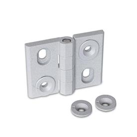 GN 127 Zinc Die-Cast Adjustable Alignment Hinges, with Alignment Bushings Type: H - Vertical slots<br />Color: SR - Silver, RAL 9006, textured finish
