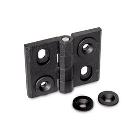 GN 127 Zinc Die-Cast Adjustable Alignment Hinges, with Alignment Bushings Type: H - Vertical slots<br />Color: SW - Black, RAL 9005, textured finish